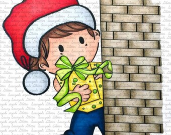 Shy's Christmas Present Sasayaki Glitter digital Stamp by Naz  - Line art only - Black and white
