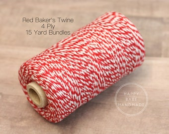 Red Baker's Twine, 4 Ply, 15 Yards, Red Twine, Cotton Twine, White Twine, Food Packaging, Red Gift Wrap, Red Wedding, Baker's Twine