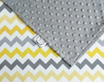 Yellow Chevron Baby Blanket - Minky Blanket - Gender neutral - Pram blanket - New Baby Gift - Mint option also available