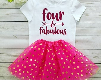 Four and Fabulous Birthday Outfit, Sprcial order Birthday outfit, 4 Years old Girl outfit