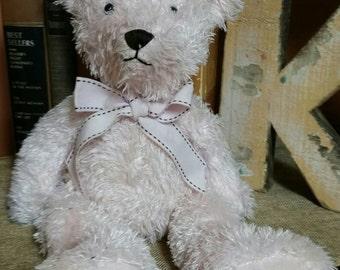 Pink Teddy Bear/Soft Fuzzy Bear/12 Inch Plush Toy/Pink Fuzzy Teddy Bear/Floppy Plush Bear/Childs Gift/Nursery Decor