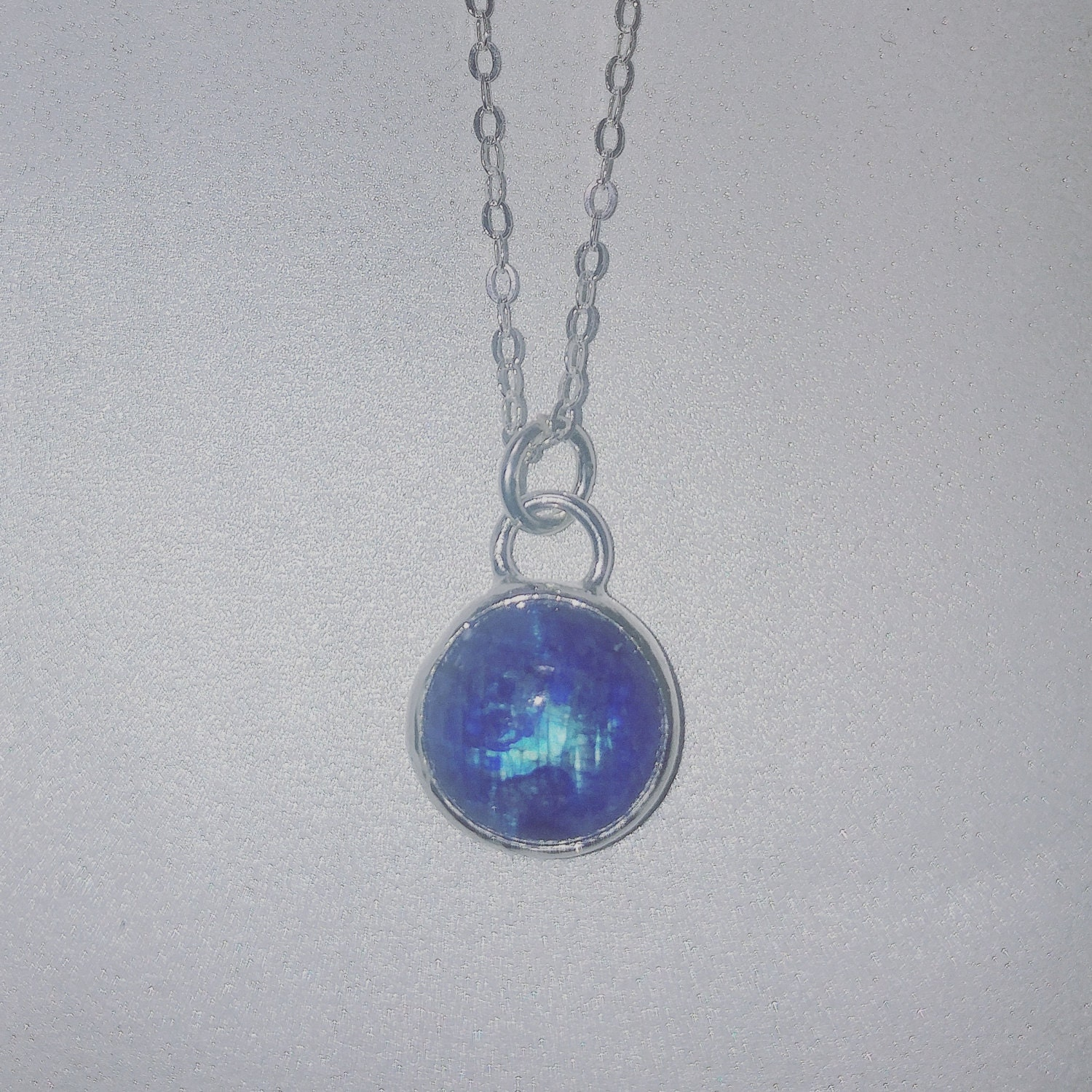 Blue moonstone round pendant flashy blue moonstone necklace