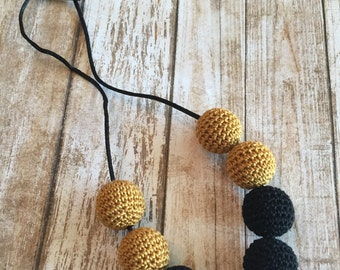 Black and gold crochet necklace