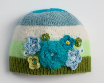 Knit hat, Flower hat, Winter hat, Orange hat, Green hat, Knit flowers, Embroidery flowers, Baby hat, Newborn baby, Baby present, Cute hat