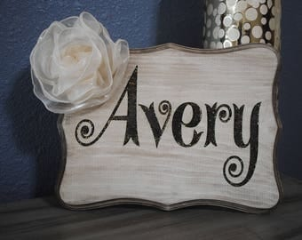 Personalized name sign, laser engraved, Wood sign