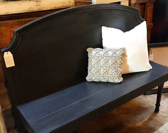 Graphite Gray Bench - headboard, seat, wood,