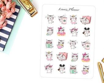 Cute Cats Decorative Sticker (matte planner sticker, clipart, Erin Condren, Happy Planner, Filofax, Kikki K)