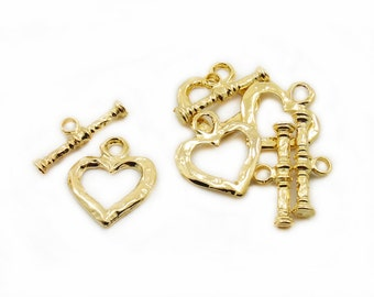 Gold Color Heart Toggle Clasps, 4 Sets Gold Color Heart Toggle Clasps, Hearts Connectors, Jewelry Making, Craft Supplies