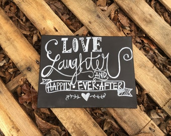 love laughter and happily ever after chalkboard wedding canvas sign