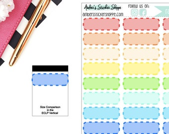 Rainbow Quarter Filled Dashed Memo Boxes Planner Stickers