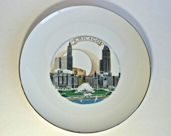 HOWARD KOTTLER ~ Chicago Cityscape Decal CHICAGO Buckingham Fountain ~ Modern Art Ceramist ~ Circa 1960s-1980s ~ Porcelain Collector Plate