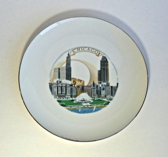 HOWARD KOTTLER ~ Chicago Cityscape Decal CHICAGO Buckingham Fountain ~ Modern Art Ceramist ~ Circa 1960s-1980s ~ Porcelain Collector Plate