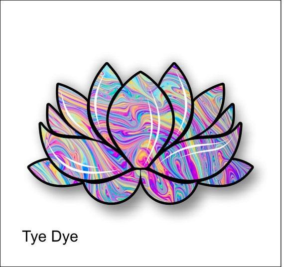 Lotus Flower Tye Dye Sticker Decal Free Shipping