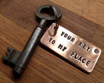 """HANDMADE Copper Keychain with your personal text ' your key to my place """"or with text."""