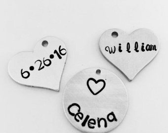 Name or Date Hand Stamped Disc, Choice of Heart or Circle- Choose Your Name to go With Necklace or Bracelet, Necklace Charm, Bracelet Charm
