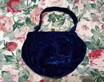 Gorgeous 50's Royal blue velvet evening bag kelly evening bag pinup fashion great Gatsby wedding accessory