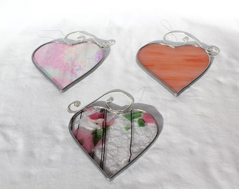 Stained Glass Heart Suncatcher - Stained Glass Suncatcher - Heart - Stained Glass Heart - Heart Suncatcher - Ornament - Gift for Her - Pink