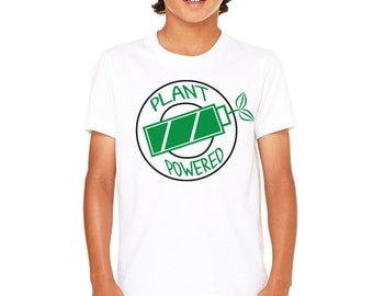 Vegan Plant Powered Hooper Funny workout T-shirt Youth Humorous  Graphic Screenprint