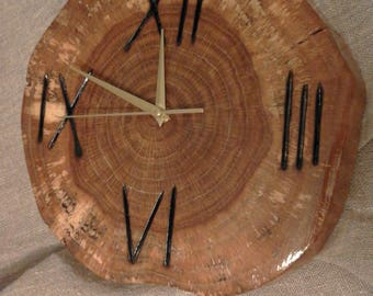 oak , wall clock, handmade