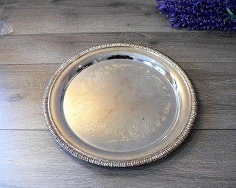Vintage Round Silver Tray in the French Farmhouse Style - Silver Plated Platter - Vanity Tray 9 3/4 inches