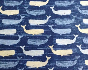 Beach Rules Whales by Timeless Treasures, Whale Ocean Fabric