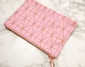 Pencil case / Makeup bag - Rose gold & Pink Geometric pattern - Planner accessories