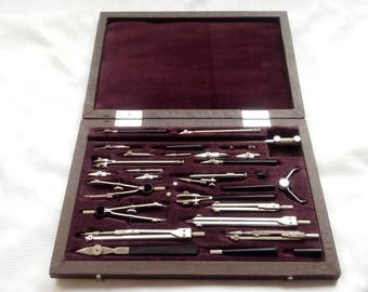 Professional Drawing Set, Drafting tools, Drafting Set, Drawing Instruments, big Case Instruments