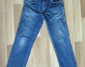 Wrangler Regular Fit Mens Blue Jeans Cotton Size W32 L30 Used Worldwide Shipping