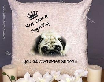 "Luxury Personalised 18"" Chenille Cushion & Pad Keep Calm And Hug A Pug Birthday Gift"