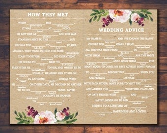 Bridal Shower Mad Libs, Wedding Bride Groom Madlibs, Party Madlib Sheets for Any Event! Floral Rustic Kraft Paper Personalized Custom File!