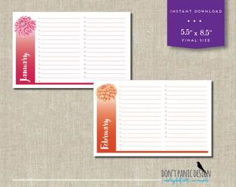 Beautiful Printable Floral Calendar - Birthday Calendar - Anniversary Calendar - Eternal Planner - Instant Download PDF