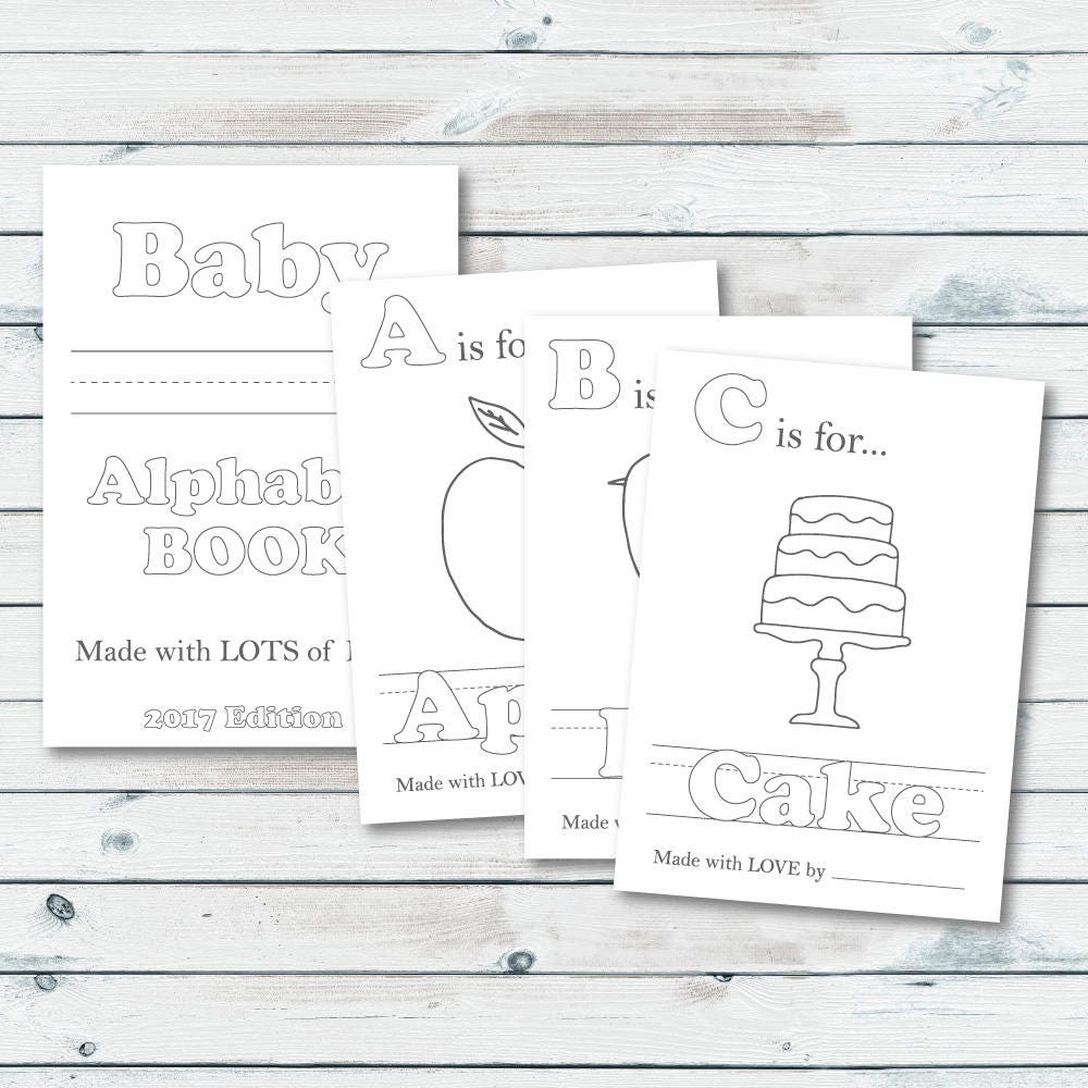 alphabet book baby shower game printable baby alphabet book