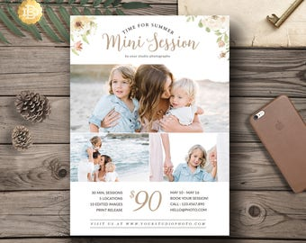 Summer Mini Session for Photographer, Photography Mini Session Marketing Board, Summer Photography Template Card - INSTANT DOWNLOAD MS023