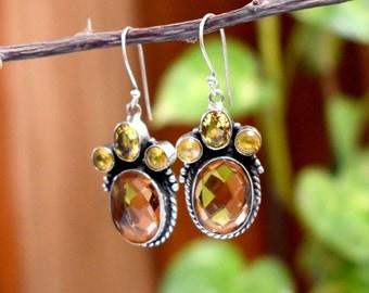 Citrine Dangle Earrings - 925 Sterling Silver Earrings - Citrine hydro Earrings - Vintage Fashion Women Dangle Earrings