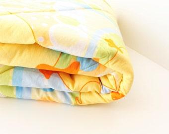 Crib blanket, baby blanket, baby quilt, Yellow, Duck, Polka dot, Baby gift, Baby shower gift, Nursery, Double side