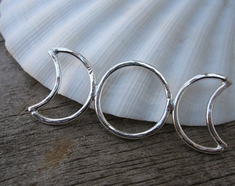 Mama metal / modular jewelry Moon Phase triple moon pendant fine silver // made to order