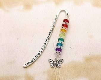 Rainbow Colours With Butterfly Silver Tone Beaded Bookmark