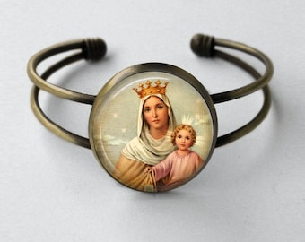 Our Lady of Mount Carmel Cuff Bracelet - Catholic Cuff Bracelet - Catholic Jewelry
