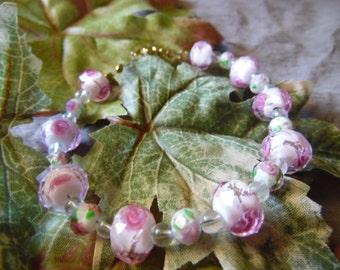 Handmade Beaded Bracelet Pink Flowers 9 Inches