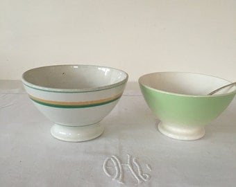 Set of 2 Vintage French footed  cafe au lait bowls