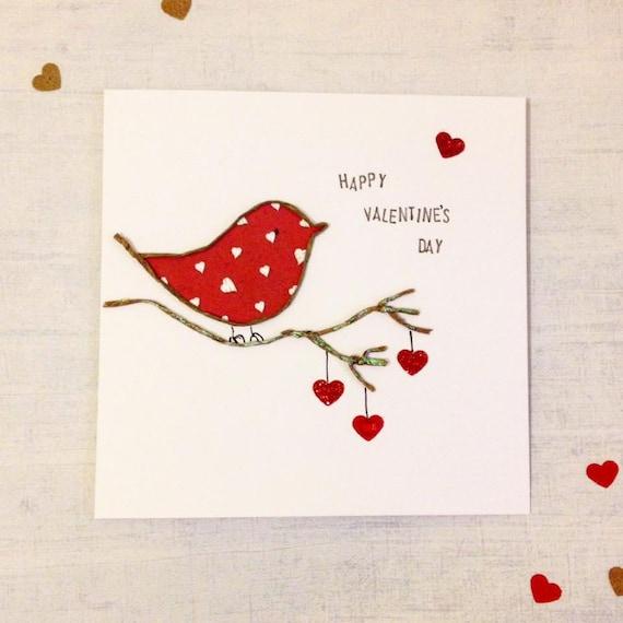 Bird Valentines Card Love Bird Handmade valentines day – Bird Valentine Card