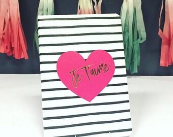 Je T'aime heart notebook