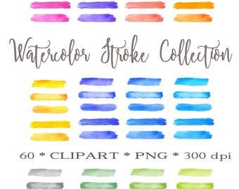 Watercolor Brush Strokes,Watercolor Brush,Watercolor Brushes,Instant Download, Watercolor Paint Strokes Clipart, Colorful Watercolor Clipart