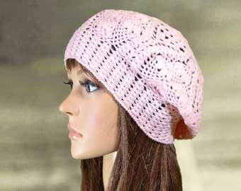 Cotton summer hats, Womens lace beanie, Knit summer beret, Knitted sun hat tam, Pink lace beret, Slouchy hats summer, Slouch knit berer
