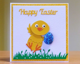 Easter Card, Handmade - Chick Holding Easter Egg - Cute Easter Card - Children's Easter Card - Can Be Personalised