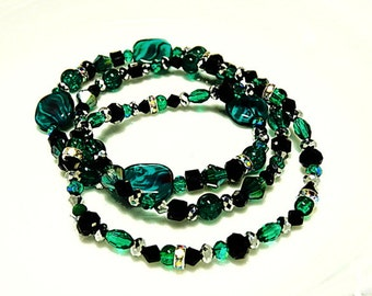 Teal black and silver glass beaded stretchy bracelets