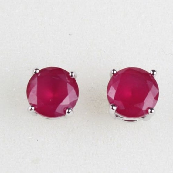 Beautiful 18 ct white gold filled ruby stud earrings