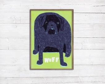 Hund A4 Print Zeichnung Illustration Wau Wau lustiger dicker Hund