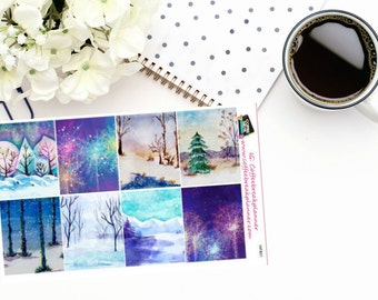 Planner Stickers|Winter Full Box Stickers| Winter Planner Stickers|For use in a variety of planners and journals|WFB01