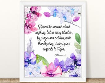 Philippians 4:6, Do not be anxious, Printable Wall Art Bible Verse, Scripture Print, Scripture Wall Art, Bible Verse Art, Philippians
